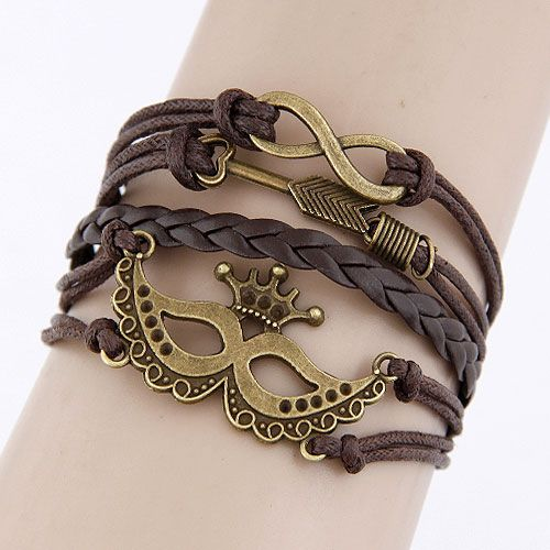 Classic creative crown  unique combination alloy accessory multi-layer weave bracelet 213404