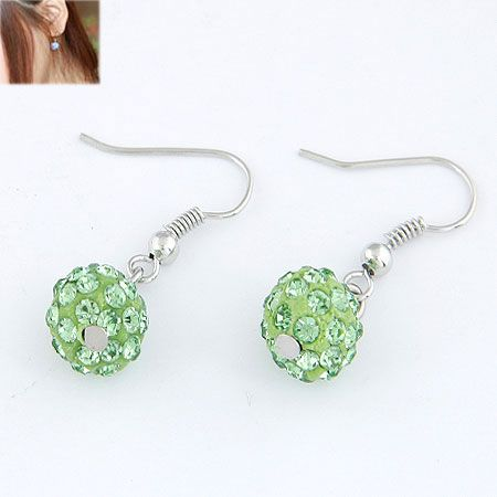 Sweet pave setting ball earrings ( peridot ) 213472