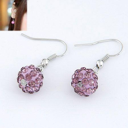 Sweet pave setting ball earrings  purple  213474