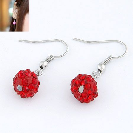 Sweet pave setting ball earrings ( red ) 213475