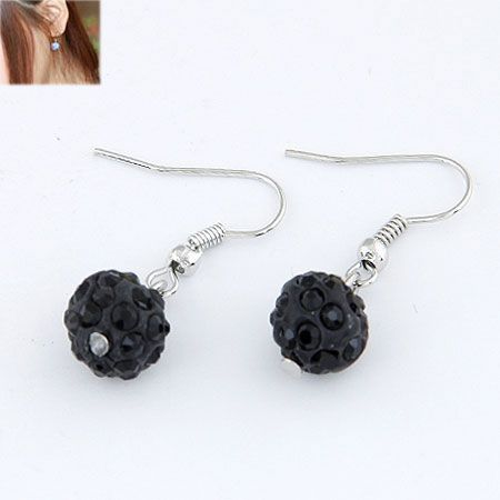 Sweet pave setting ball earrings ( black ) 213476