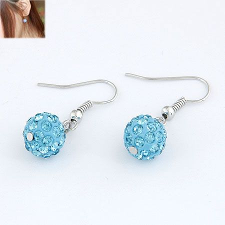 Sweet pave setting ball earrings  sky blue  213478