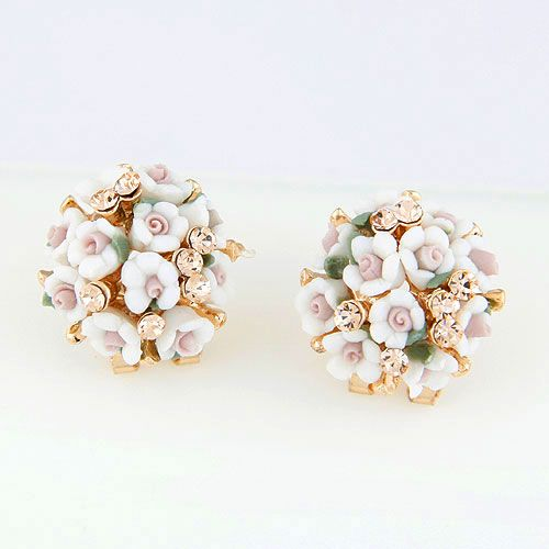 EXQUISITE Sweet OL gem little flower earrings ear studs 213503
