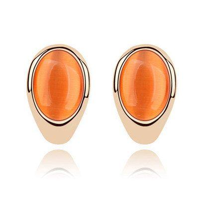 EXQUISITE oval cat s eye unique ear studs  orange  213184