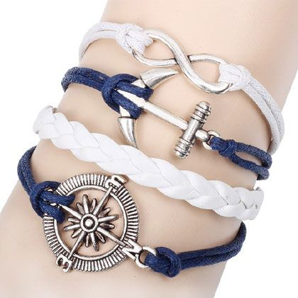 Occident creative design lucky music note and angel wing combination multi-layer weave bracelet 213170
