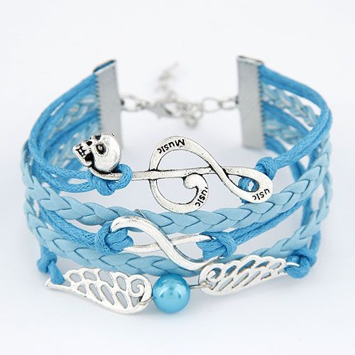 Creative happy music note and angel wing combination alloy multi-layer weave bracelet 213142