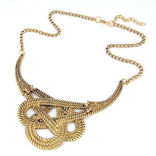 Classic weave cord classic pattern short necklace ( alloy color ) 213094