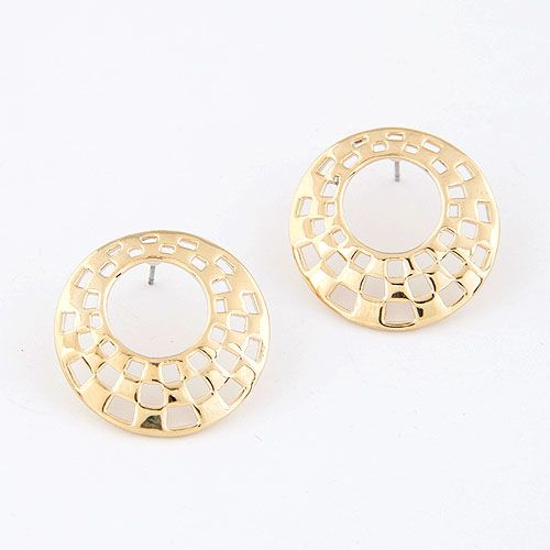 EXQUISITE Sweet hollow out oval ear studs 212946