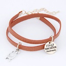 Easy match pretty cat pendant and round letter disk easy match leather weave double layer bracelet  dark red  214029
