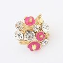 Vintage punk sweet gem embedded small flowers finger ring  rose  7100082