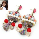Bohemian styel the beads and yarn tassel ear studs 213266