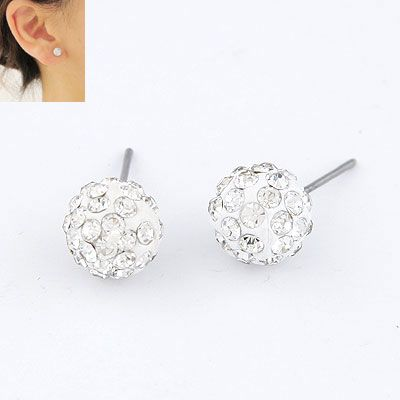 Sweet gem embedded ball unique ear studs 214264
