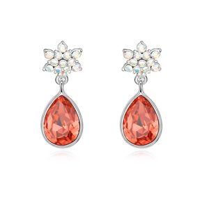 Austrian imitated crystal earrings - Bright Beauty ( Red water lilies + Champagne Alloy ) 13260