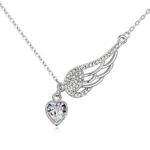 Austrian imitated crystal necklace - Wings of love ( White ) 13241