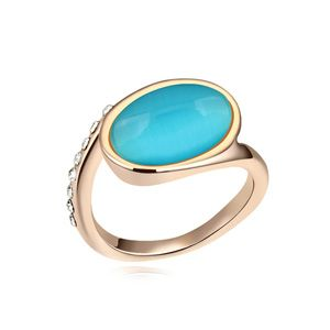 Alloy-plated - Nostalgic opal ring ( Blue Lake + Rose Alloy ) 13215