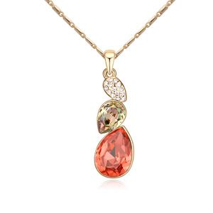 Austrian imitated crystal necklace  Wonderful Journey  Red water lilies + Champagne Alloy  13199