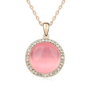 Alloy-plated - Love opal necklace Crossroad ( Light pink + Champagne Alloy ) 13144