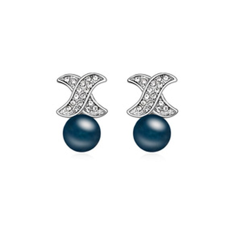 Austria beads earrings - Love ( Navy blue ) 13084