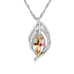 Austrian imitated crystal necklace  Leaf Dance Girl  Glow Green  13049
