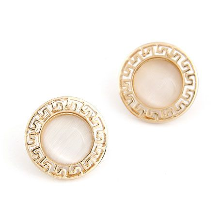 EXQUISITE concise cat s eye unique  ear studs 214747