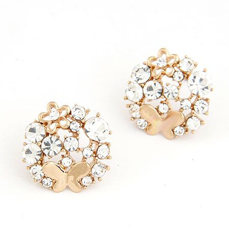 EXQUISITE novel gem butterfly dance Petal  ear studs 214748