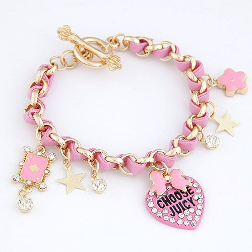 EXQUISITE Sweet pave setting heart and star easy match leather cord weave bracelet ( rose ) 214738