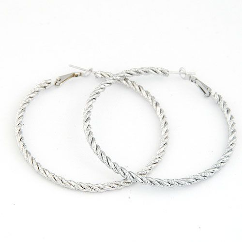 Occident fashion simple design alloy color hoops embossed hoop earrings / ear studs 214718