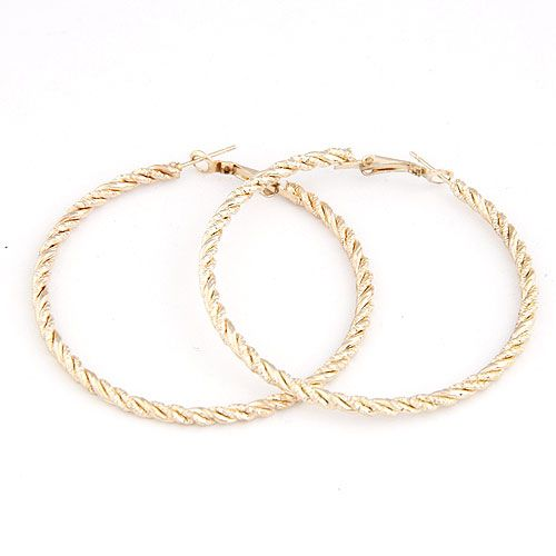 Occident fashion simple design alloy color hoops embossed hoop earrings / ear studs 214717