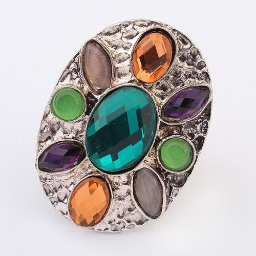 Occident bohemian style fashion gemstones finger ring ( green ) 7104897