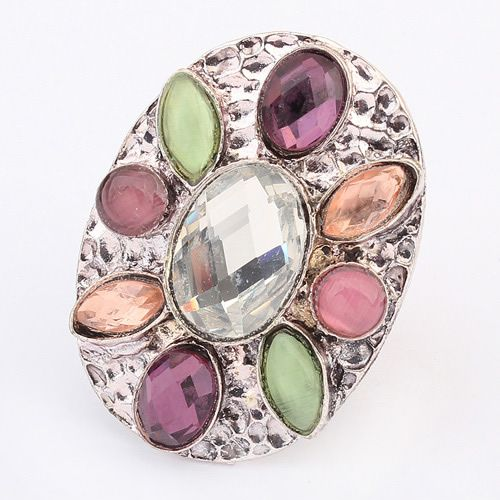 Occident bohemian style fashion gemstones finger ring ( white ) 7104896