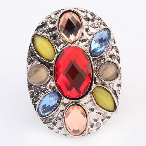 Occident bohemian style fashion gemstones finger ring ( red ) 7104895