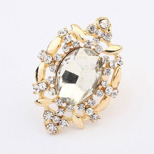 Occident new fashion gemstone finger ring ( white ) 7104867