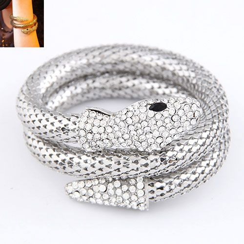 Occident fashion punk snake shape pave setting multi-layer boast  bangle ( alloy ) 214361