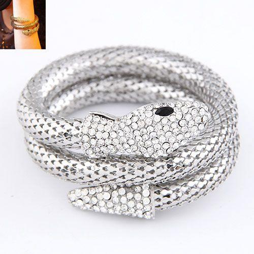 Occident fashion punk snake shape pave setting multilayer boast  bangle  alloy  214361