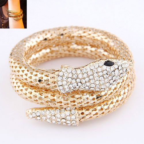 Occident fashion punk snake shape pave setting multi-layer boast  bangle ( alloy color ) 214362