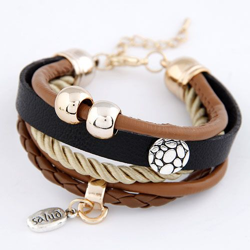 Easy match concise metal artificial leather multi-layer bracelet 214388