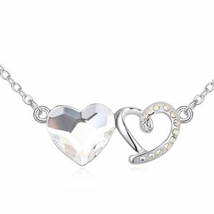 Austrian imitated crystal necklace - Heart dependent ( White ) 13823