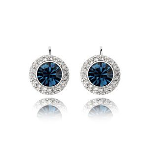Austrian imitated crystal earrings  Moon  Blue ink  13756