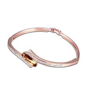 Austrian imitated crystal bracelet - Prometheus ( Imitated crystal yellow color + Rose Alloy ) 13663