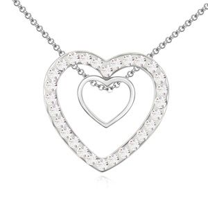 Austrian imitated crystal necklace - Meet Heart ( White ) 13635