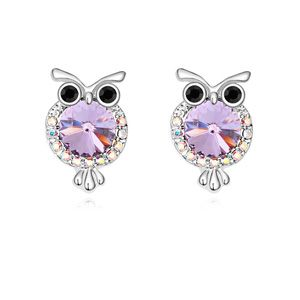 Austrian imitated crystal earrings  Owl  Violet  13515