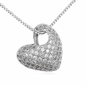 Austrian imitated crystal necklace - Bell Heart ( White ) 13473