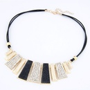 Occident fashion boast easy match gem embedded concise bar black leather necklace 214643