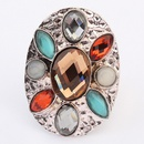 Occident bohemian style fashion gemstones finger ring  coffee  7104894