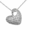 Austrian imitated crystal necklace  Bell Heart  White  13473
