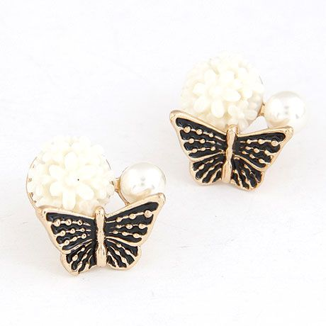EXQUISITE Sweet flower bud the butterfly  ear studs  white  215249