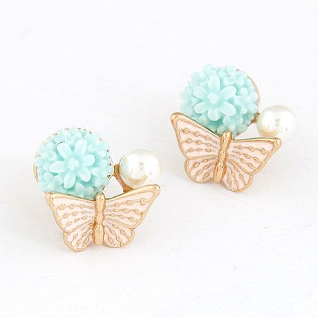 EXQUISITE Sweet flower bud the butterfly  ear studs ( light blue ) 215250