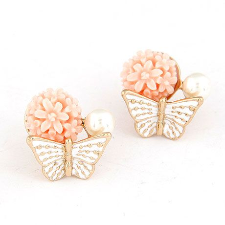 EXQUISITE Sweet flower bud the butterfly  ear studs ( pink ) 215251