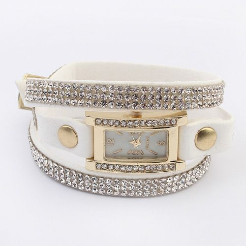 Concise hot sale shining rhinestones watch bracelet ( white ) 7106411