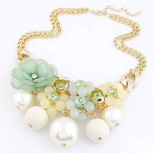 Occident fashion delicate flower Beads  boast necklace ( white ) 214860